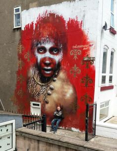 Dale Grimshaw with his work in Blackpool, UK