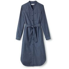Blue Women's Mao Collar Cotton Chambray Long Shirt Dress ($215) ❤ liked on Polyvore featuring dresses, shirt dress, long dresses, long day dresses, lacoste and blue color dress