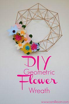 DIY Geometric Flower Wreath // Made with coffee stirrers + felt!