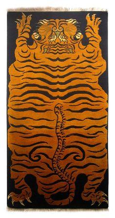 TIBETIAN TIGER CARPETS | Tibetan Tiger Carpet Wool Tibetan Carpet For Sale | Antiques.com ...