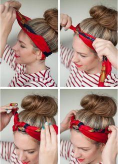 Bandana Hairstyles, Loose Hairstyles, Short Bob Hairstyles, Vintage Hairstyles, Trendy Hairstyles, Curly Hair Styles, Short Hair Updo, Cabelo Pin Up, How To Tie Bandana