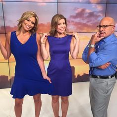 Fun filled job at the Weather Channel: Jen Carfagno with her colleagues Stephanie Abrams and Jim Cantore Stephanie Abrams, Jim Cantore, I Dress, Peplum Dress, Hottest Weather Girls, Earth Weather, Robin Meade, Nice Dresses, Summer Dresses