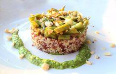 Quinoa con fagiolini e salsa al basilico e anacardi