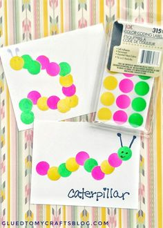 Use color coding circles from Dollar Tree to make caterpillars with ease! Find more kid friendly craft ideas on Glued To My Crafts