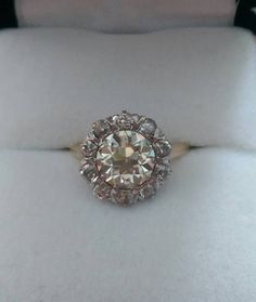 Edwardian 14k gold Mine Cut Diamond Halo and OEC von OldTimeSparkle