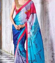 Buy Blue printed Georgette saree with blouse manipuri-silk-saree online