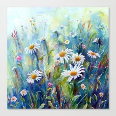 Watercolor Daisy Field Shower Curtain by Corner Croft Art - by Daisy Painting, Autumn Painting, Watercolour Painting, Watercolor Flowers, Watercolours, Daisy Art, Daisy Field, Image Painting, Dog Paintings