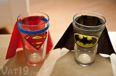 These are Superman, Batman and Wonder Woman themed shot glasses with attached capes. Because what's a shot glass without a cape? Batman Birthday, Superhero Birthday Party, Boy Birthday, Birthday Parties, Birthday Ideas, Superman Party, Batman And Superman, You Are My Superhero, Superhero Capes