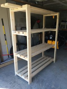 """Garage Shelves Super sturdy and super easy! Check the rest of my """"board"""" for the plans."""