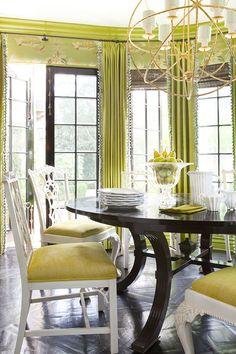 7f7f9fd7346 Chartreuse Dining- ELLEDecor.com Dining Rooms