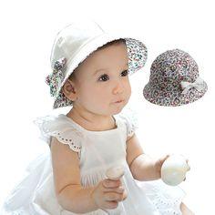 꽃 인쇄 아기 여름 모자 활 화이트/핑크 아이 소녀 여름 cap 더블 입을 수 1-3 년 1 개