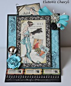 Elite4U Cheryl Handmade Graphic 45 COUTURE 5 X 5 1/2 Easel Card