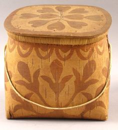 EARLY 20TH CENTURY HAND DECORATED BIRCHBARK BOX. I'm certain this is a Passamaquoddy Indian Box which has survived well over the years. Its floral leaf decoration on the body is only further embellished with multiple heart decoration on its cover.  Size, 7.5 x 6.5 x 7 inches overall. Fine condition.  $ 795.00