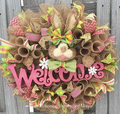 Easter Bunny Burlap Deco Mesh Wreath by WelcomingWreathsMore