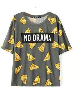 Women's Tops Pizza Letters Print T shirt Cute Cake Short Sleeve/Long Sleeve