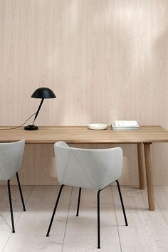 In Verve, a circular top compounds with a semi-rectangular base to form a sinuous shape with remarkable sculptural qualities. Wooden Dining Tables, Dining Chairs, Chair Design, Furniture Design, Scandinavian Living, Scandinavian Office Furniture, Solid Wood Table, Slow Living, Affordable Furniture