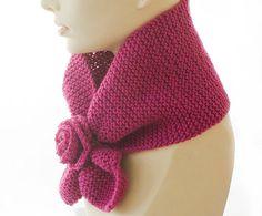 Knit KeyHole Scarf Flower Self Tying Stay in Place by beadedwire, $30.00