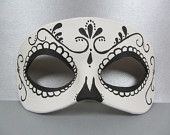 Day of the Dead Swirl Black and White Leather Mask, Unisex