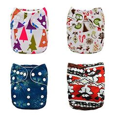 Alva Baby Christmas Design 4pcs Pack Fitted Pocket Cloth Diaper with 2 Inserts Each 4DM04, http://www.amazon.com/dp/B00PGV6RSW/ref=cm_sw_r_pi_awdm_O0IRvb04ET40G