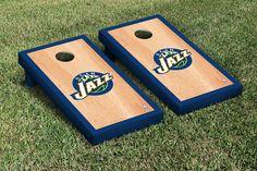 Our Utah Jazz Cornhole Game Set Hardcourt Version. Get your custom set at victorytailgate.com