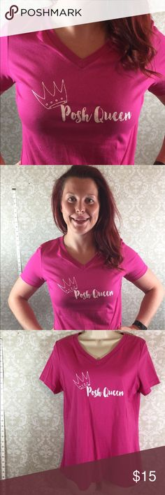 "Just In:  ""Posh Queen"" Tee. Sizes S -2XL Perfect tee to celebrate your Posh style!  Sizes S -2XL  100% Cotton. Bundle and save!   Grab a tank too.  2 for $25.  Thank you for shopping my closet!  ❤️.  Thank you to my beautiful daughter for modeling. Tops Tees - Short Sleeve"