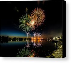 Color Splash Canvas Print featuring the photograph Fireworks 17 by Tom Clark