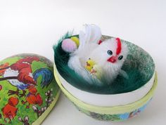 Vintage Paper Mache Egg with Chenille Chick Inside by teresatudor, $9.50