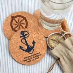 These personalized round cork coasters can be designed to work with any wedding or shower theme. They are durable, made from all-natural cork. Add a witty slogan, the couple's names, and the date to create a fun and unique gift for your guests. Wedding Souvenirs For Guests, Nautical Wedding Favors, Creative Wedding Favors, Inexpensive Wedding Favors, Edible Wedding Favors, Beach Wedding Reception, Wedding Party Favors, Wedding Ideas, Wedding Gifts