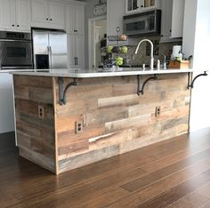 The Reclaimed Brown on this kitchen island remodel is amazing! #interior #kitchen #remodel #reclaimed