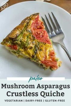 This Mushroom Asparagus Crustless Quiche is a must for your next breakfast, brunch, lunch OR dinner! Vegetarian, dairy-free, paleo and compliant. Easy Clean Eating Recipes, Healthy Breakfast Recipes, Brunch Recipes, Vegetarian Recipes, Dinner Recipes, Healthy Eating, Healthy Recipes, Breakfast Options, Brunch Ideas