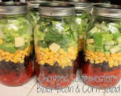 Chopped Southwestern Black Bean and Corn Mason Jar Salads - ya gotta have a hobby...