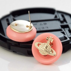 Pink Button Orb Earrings : Cheap Vivienne Westwood Jewellery, Vivienne Westwood Jewellery Sale