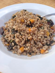 Faro with kale and butternut squash. From Farm to Table Catering's Farm Dinner on 10/12/13.