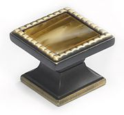 "WIN-ABZ1-CARAMEL Windborne Classico 1-1/4"" (32mm) Square Cabinet Knob (Antique Bronze/Caramel)"