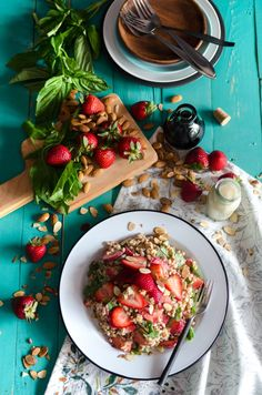 Strawberry Basil Farro Salad Recipe from Bob's Red Mill! Other Recipes, Whole Food Recipes, Cooking Recipes, Vegetarian Recipes, Healthy Recipes, Healthy Foods, Quinoa Dishes, Farro Salad, Red Mill