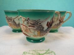 Vintage Dragonware Teacups- 3 Moriage Dragonware Teacups By Emerson China by SETXTreasures on Etsy