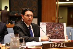 Israeli Ambassador to the UN Danny Danon shows the UN Security Council a map of southern Lebanon villages infiltrated by Hezbollah. The blue squares are schools and mosques, which are surrounded by infantry positions, rocketmore. Un Resolution, Un Ambassador, Un Security, Israel News, Know The Truth, Praise The Lords, United Nations, Investigations, How To Plan