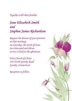 Watercolor Purple and Green Orchid Free Wedding Invitation