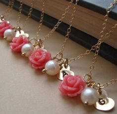 Personalized Rose Bridesmaids Necklaces | Beauty and the Beast Themed Wedding | Estate Weddings and Events