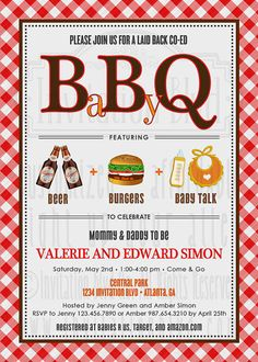 Baby-Q Invitation Barbecue BBQ Baby Shower by InvitationBlvd