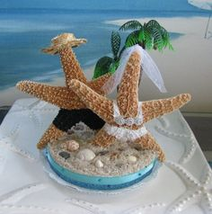 Starfish on a Beach Wedding Cake TopperPalm by CeShoreTreasures, $55.00