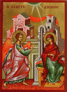 The Feast of the Annunciation of Our Most Holy Lady, the Theotokos and Ever-Virgin Mary is celebrated on April 7 (March each year. Orthodox Catholic, Orthodox Christianity, Catholic Art, Early Christian, Christian Art, Religious Icons, Religious Art, Feast Of The Annunciation, Day Of Pentecost