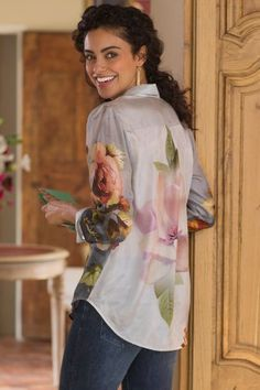 """Treat yourself to this beautiful bouquet of roses. We're admittedly obsessed with this casually elegant silk blouse printed with subtle-toned flowers and blue-hued butterflies. Long sleeves resolve into slim shirt-cuffs. Button front. Silk. Misses 28""""/29-1/2"""" long. Treillage Silk Blouse #2AM73 Shirt Cuff, Soft Surroundings, Late Summer, Rose Bouquet, My Wardrobe, Butterflies, Cuffs, Roses, Ruffle Blouse"""