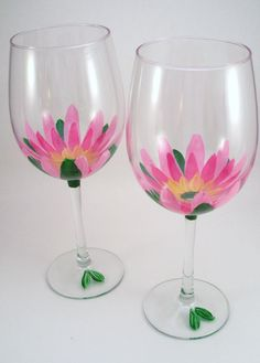 Pink lotus flowers hand painted wine glasses  set of 2 by RaeSmith, $34.00