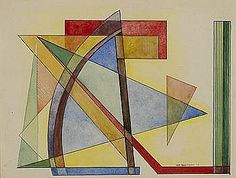 John Sennhauser (1907-1978).  Arriving at an abstract style in the latter half of the 1930's, John Sennhauser was one of a select group of American abstract painters to come into the circle of Hilla Rebay, the influential director of the Museum of Non-objective Painting (Solomon R. Guggenheim Foundation). He joined Abstract American Artists group in 1943 & had annual exhibitions at AAA until the late 1970's.
