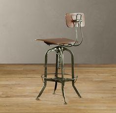 Vintage Toledo Bar Chair Antiqued Green