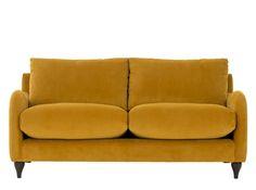 Sofia, canapé 2 places, velours jaune curcuma