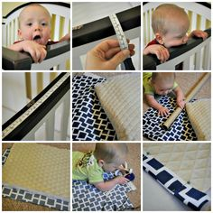 11 Of the Coolest Tricks of How to Makeover Teething Crib Rail Cover Having a newborn baby is another happiness of the couple after their relationship. Here, in order to provide the nice room to spot the newborn baby, t. Crib Rail Cover, Crib Rail Guard, Crib Teething Guard, Baby Teething, Baby Crib Diy, Baby Sewing Projects, Baby Crafts, Baby Decor, Tela