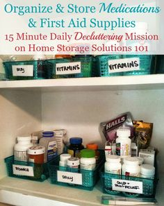 Ideas for how to organize medications and first aid supplies a mission on Home Storage Solutions 101 Here are quite a few medication organizer ideas and storage solutions for organizing first aid and medical supplies in your home. Medicine Cabinet Organization, Storage Organization, Medicine Storage, Medicine Cabinets, Kitchen Organization, Diy Kitchen Storage, Diy Storage, Storage Ideas, Bathroom Storage