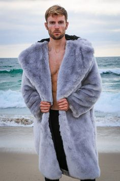 Faux Fur Men's Vandal coat with zip off hood by FurrociousFashion Mens Fur, Made Clothing, Shearling Coat, Rave Outfits, Fur Collars, Faux Fur, Pinky Rings, Fur Jackets, Mens Fashion